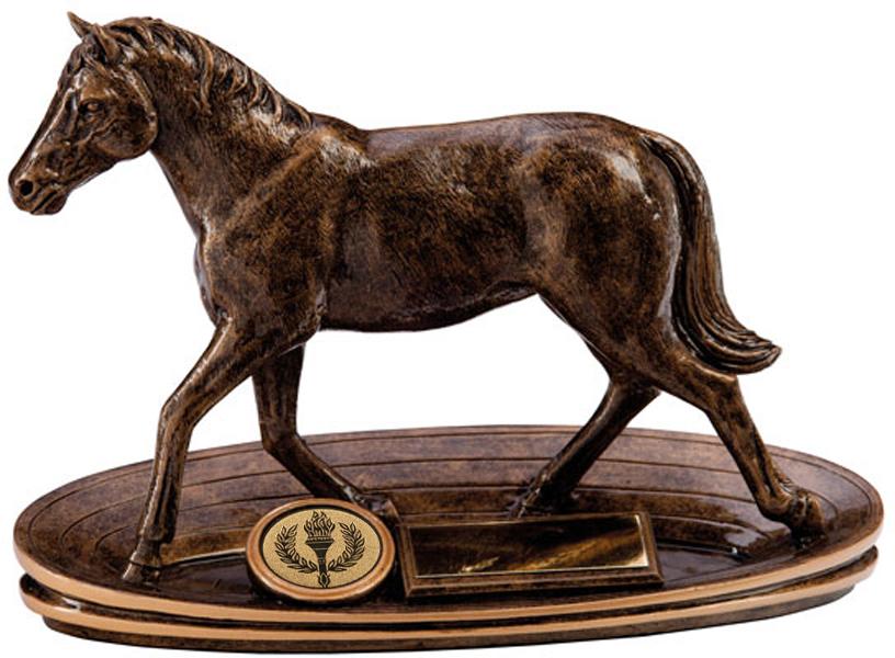 "Bronze Resin Endurance Horse Figure Equestrian Trophy 13.5cm (5.25"")"