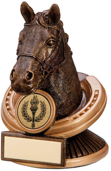 "Gold Resin Endurance Horse Head Equestrian Trophy 12.5cm (5"")"