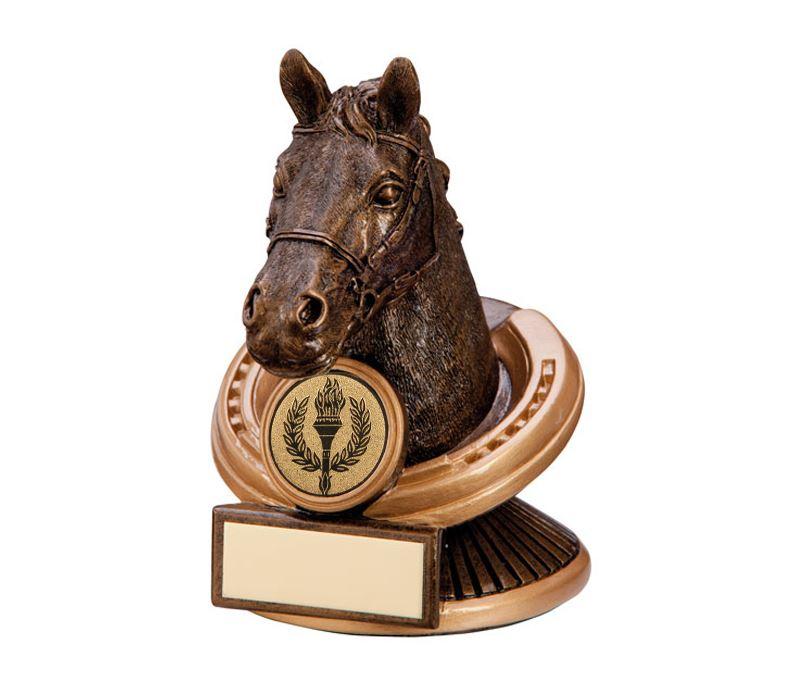 "Gold Resin Endurance Horse Head Equestrian Trophy 12.5cm (5"")"