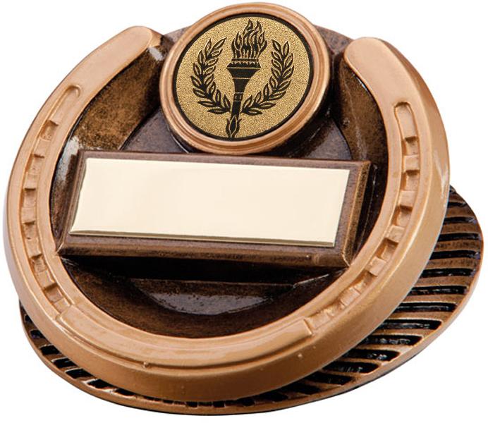 "Gold Resin Endurance Horse Shoe Equestrian Trophy 4.5cm (1.75"")"