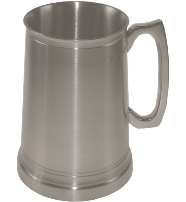 """Extra Heavy 1pt Sheffield Pewter Tankard with Glass Base 12.5cm (5"""")"""