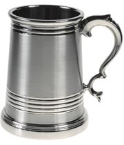 """Extra Heavy Grooved Worcester 1pt Sheffield Pewter Tankard 12.5cm (5"""")"""