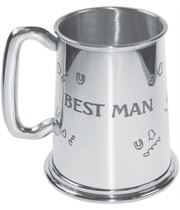 "Polished Best Man 1pt Sheffield Pewter Tankard 11.5cm (4.5"")"
