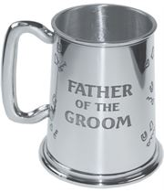 """Polished Father Of The Groom 1pt Sheffield Pewter Tankard 11.5cm (4.5"""")"""