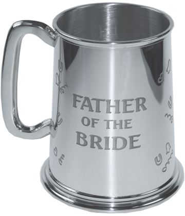 "Polished Father Of The Bride 1pt Sheffield Pewter Tankard 11.5cm (4.5"")"