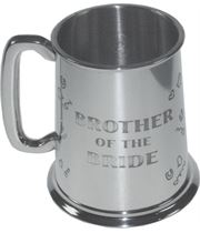"""Polished Brother Of The Bride 1pt Sheffield Pewter Tankard 11.5cm (4.5"""")"""