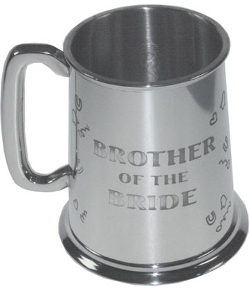 "Polished Brother Of The Bride 1pt Sheffield Pewter Tankard 11.5cm (4.5"")"