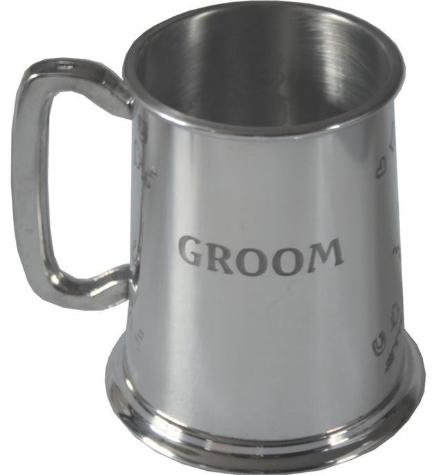 "Polished Groom 1pt Sheffield Pewter Tankard 11.5cm (4.5"")"