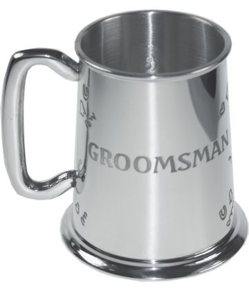 "Polished Groomsman 1pt Sheffield Pewter Tankard 11.5cm (4.5"")"