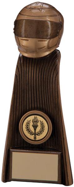 "Gold Resin Raptor Motorsport Helmet Tower Trophy 18.5cm (7.25"")"