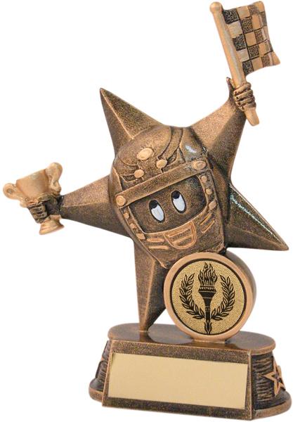 """Gold Novelty Motorsports Star Trophy 14.5cm (5.75"""")"""