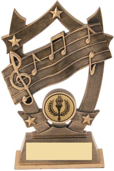 "Antique Gold Resin Music 5-Star Trophy 16cm (6.25"")"