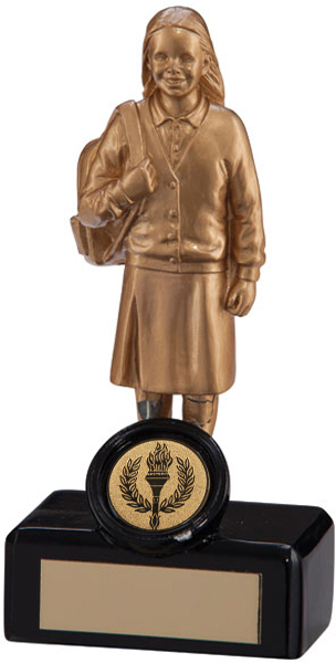 "Gold Resin Primary School Girl Trophy 14cm (5.5"")"
