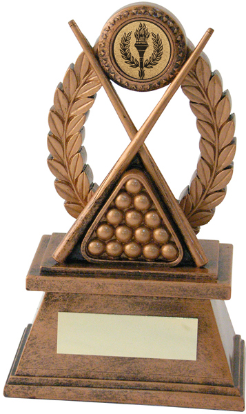 "Gold Resin Laurel Wreath Pool/Snooker Trophy 21.5cm (8.5"")"