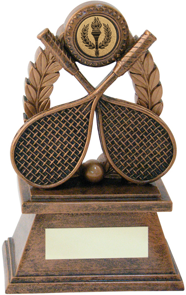 "Gold Resin Squash Rackets & Laurel Wreath Trophy 14cm (5.5"")"