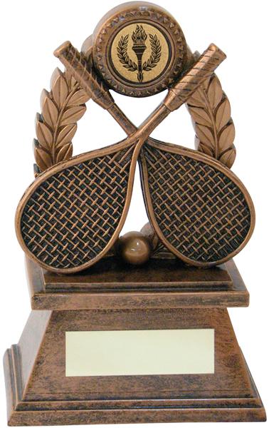 "Gold Resin Squash Rackets & Laurel Wreath Trophy 18cm (7"")"