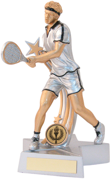 "Male Tennis Star Action Figure Trophy 21cm (8.25"")"