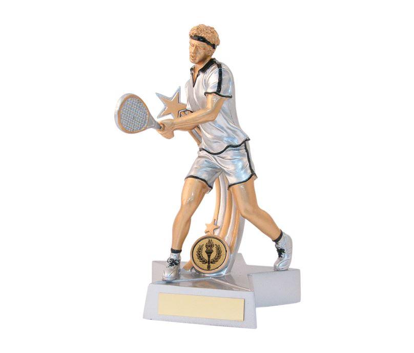"Male Tennis Star Action Figure Trophy 18cm (7"")"