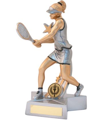 "Female Tennis Star Action Figure Trophy 21cm (8.25"")"