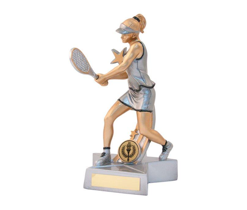 "Female Tennis Star Action Figure Trophy 21cm (8.25"")"