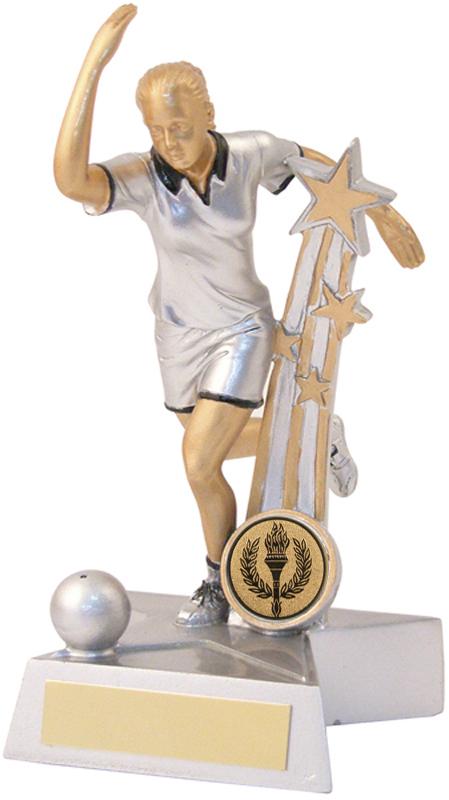 "Silver & Gold Female Ten Pin Star Trophy 18.5cm (7.25"")"