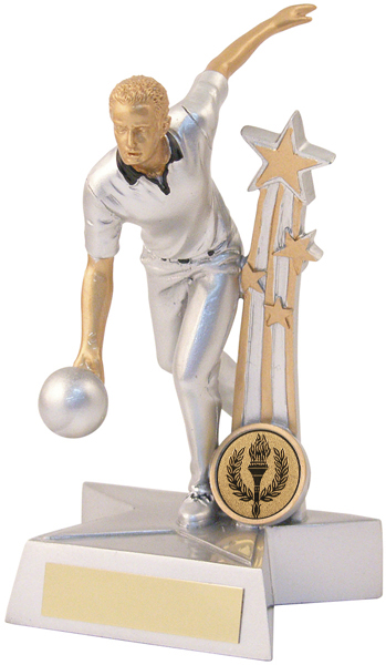"Silver & Gold Male Ten Pin Star Trophy 19.5cm (7.75"")"