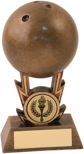 "Antique Gold Resin 3D Ten Pin Bowling Trophy 11cm (4.25"")"