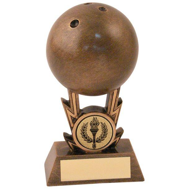 "Antique Gold Resin 3D Ten Pin Bowling Trophy 15cm (6"")"