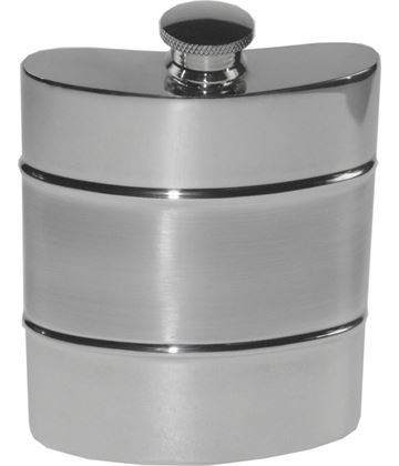 "6oz Part Satin Sheffield Pewter Hip Flask 11cm (4.25"")"