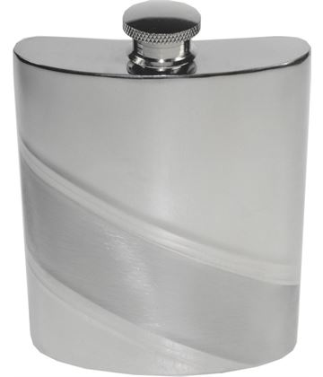 "6oz Diagonal Stripe Embossed Sheffield Pewter Hip Flask 11cm (4.25"")"