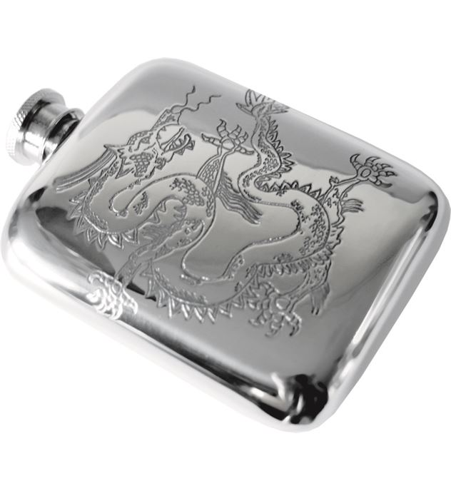 "4oz Chinese Dragon Embossed Sheffield Pewter Hip Flask 9.5cm (3.75"")"