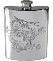 "6oz Chinese Dragon Embossed Sheffield Pewter Hip Flask 11cm (4.25"")"