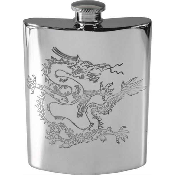 """6oz Chinese Dragon Embossed Sheffield Pewter Hip Flask 11cm (4.25"""")"""