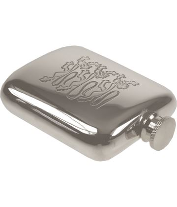 "4oz Three Lions Embossed Sheffield Pewter Hip Flask 9.5cm (3.75"")"