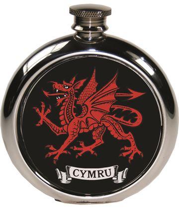 "Round 6oz Welsh Dragon Sheffield Pewter Hip Flask 11.5cm (4.5"")"