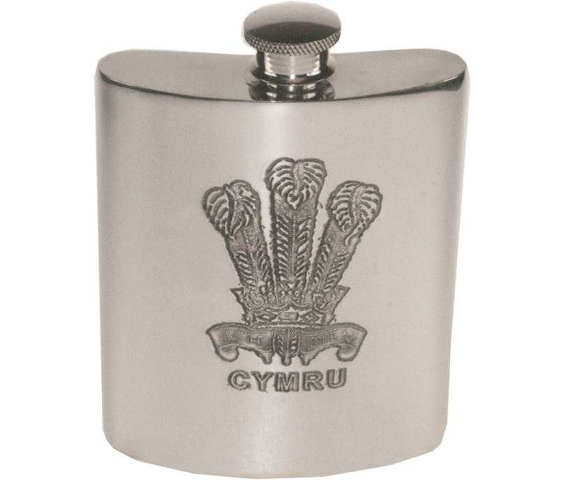 "6oz Prince of Wales Feathers Sheffield Pewter Hip Flask 11cm (4.25"")"