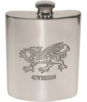 "6oz Welsh Dragon Embossed Sheffield Pewter Hip Flask 11cm (4.25"")"