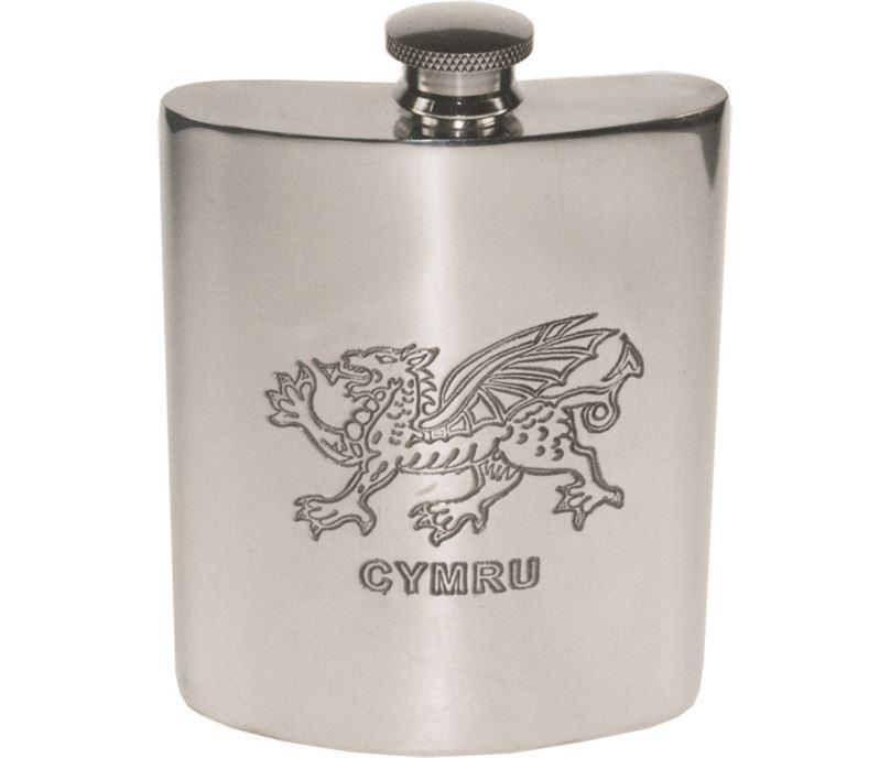 """6oz Welsh Dragon Embossed Sheffield Pewter Hip Flask 11cm (4.25"""")"""