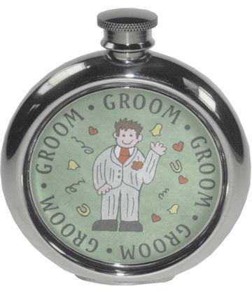 "Round 6oz Groom Sheffield Pewter Hip Flask 11.5cm (4.5"")"