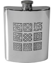 "6oz Medieval Tile Embossed Sheffield Pewter Hip Flask 11cm (4.25"")"