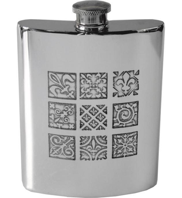 """6oz Medieval Tile Embossed Sheffield Pewter Hip Flask 11cm (4.25"""")"""