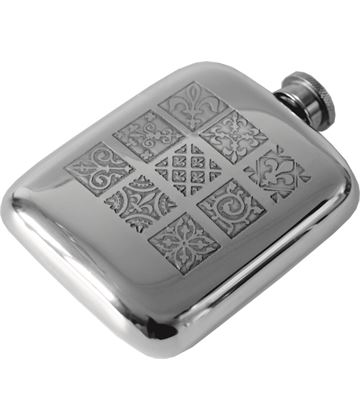 "4oz Medieval Tile Embossed Sheffield Pewter Hip Flask 9.5cm (3.75"")"