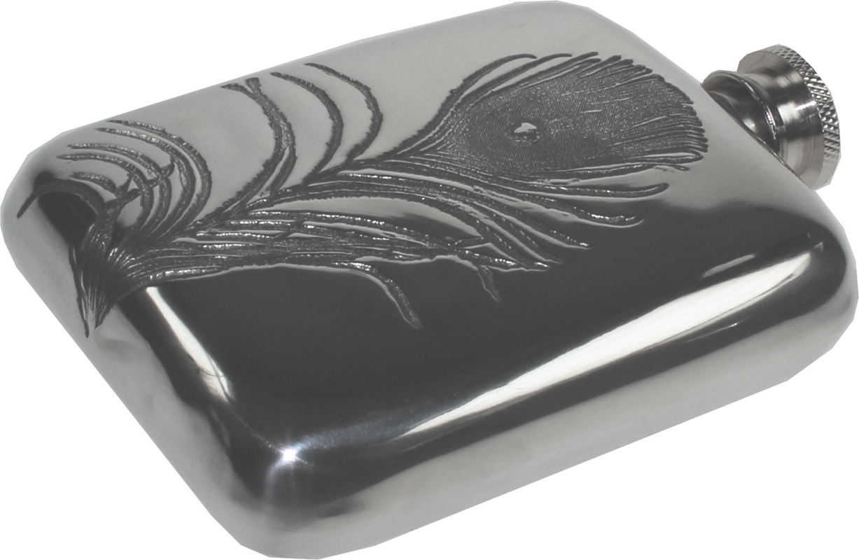 """4oz Peacock Feather Embossed Sheffield Pewter Hip Flask 9.5cm (3.75"""")"""