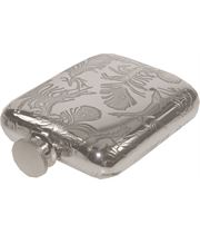 """4oz Peacock Feather Pattern Sheffield Pewter Hip Flask 9.5cm (3.75"""")"""