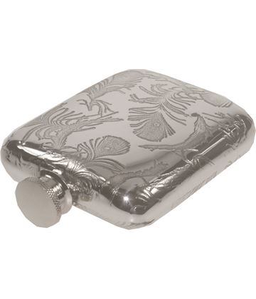 "4oz Peacock Feather Pattern Sheffield Pewter Hip Flask 9.5cm (3.75"")"