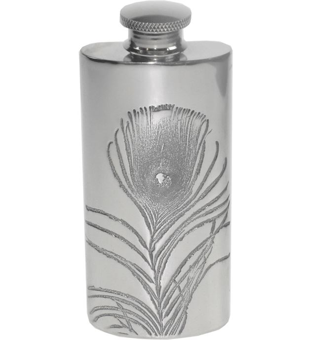 "2oz Peacock Feather Embossed Sheffield Pewter Hip Flask 9.5cm (3.75"")"