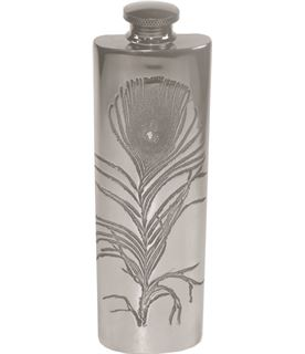 """3oz Peacock Feather Embossed Sheffield Pewter Hip Flask 14.5cm (5.75"""")"""