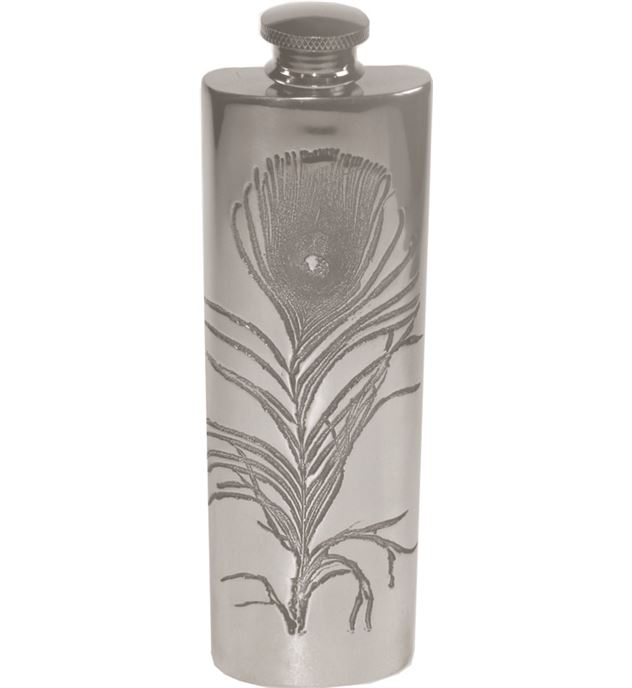 "3oz Peacock Feather Embossed Sheffield Pewter Hip Flask 14.5cm (5.75"")"
