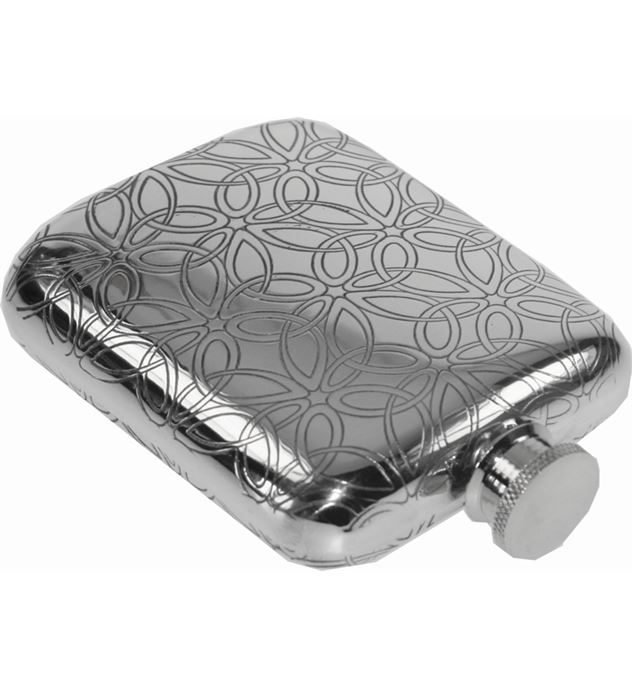"4oz Triquetra Patterned Sheffield Pewter Hip Flask 9.5cm (3.75"")"