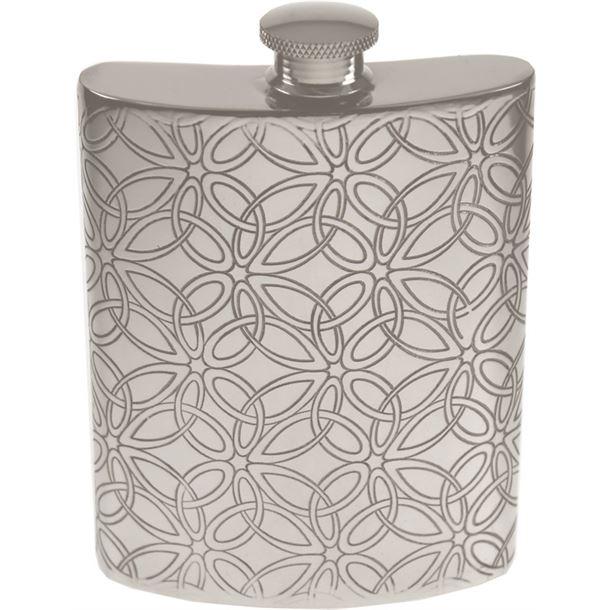 "6oz Triquetra Patterned Sheffield Pewter Hip Flask 11cm (4.25"")"